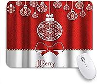 EILANNAマウスパッド メリークリスマスカラフルなちょう結びとボールがリボンにぶら下がっています。 ゲーミング オフィス最適 おしゃれ 防水 耐久性が良い 滑り止めゴム底 ゲーミングなど適用 用ノートブックコンピュータマウスマット