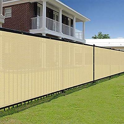 E&K Sunrise 6' x 25' Beige Fence Privacy Screen, Commercial Outdoor Backyard Shade Windscreen Mesh Fabric 3 Years Warranty (Customized Set of 1