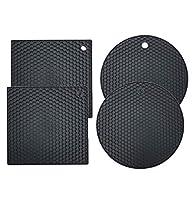 youyike® set di 4 sottopentola silicone, presine in silicone da cucina forma di alveare, resistente al calore fino a 230 °c per aprire barattoli, porta posate, guanti da forno, presine-nero