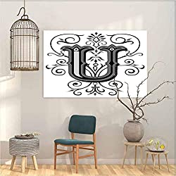 Mural Letter U Victorian Style Rococo Letter U with Middle Floral Details Artwork Home Decor Decals 23x31