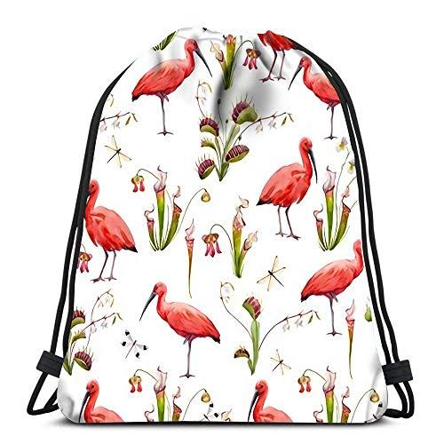 Ahdyr Mochila con cordón Bolsas Deportivas Bolsas de Mano con cincha Hermosas con Acuarela pájaro Rojo y Flores para Viajar y almacenar
