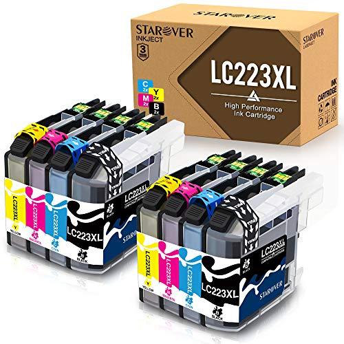 STAROVER Reemplazo de cartucho de tinta compatible para Brother LC223 LC 223 para Brother DCP-J4120DW DCP-J562DW MFC-J4420DW J4620DW J5320DW J4625DW J5620DW J5720DW J5625DW (paquete de 8)
