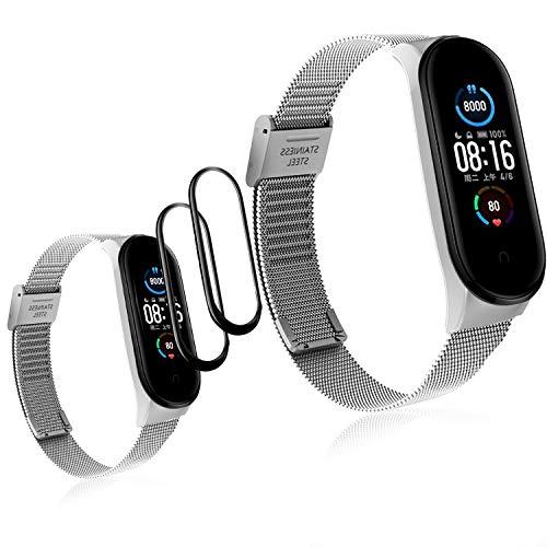 Ferilinso für Xiaomi Mi Band 5 Armband Metall + 2 Pack Schutzfolie Displayschutzfolie, Aktivität Armband Armband Armband Ersatz Schöne Edelstahlbänder mit Verschluss-Silber