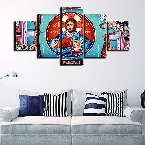 (Marco de Madera) HD Lienzo de impresión Marco de Cuadros modulares Marco Arte de la Pared Pintura 5 Paneles Virgen María Moda para Sala de Estar decoración Cartel