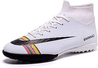 FJUAN Los Zapatos Deportivos Copa del Mundo de fútbol para Adultos, Zapatos de Entrenamiento niños y los Adultos al Aire Libre Profesionales Botas de fútbol (Antideslizante Corta uñas),White,40