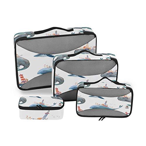 QMIN - Juego de 4 Cubos de Embalaje de Viaje, Acuarela, delfín Marino, Bolsa organizadora de Equipaje de Malla, Bolsa de Almacenamiento para Maletas de Viaje