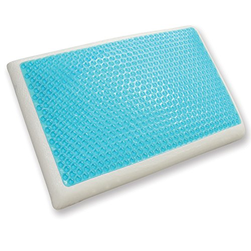 Classic Brands Cool Gel Reversible Gel and Memory Foam Bed Pillow - Light Blue/White, Standard