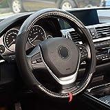 KAFEEK Steering Wheel Cover,Universal 15 inch, Microfiber Leather Carbon Fiber, Anti-Slip, Odorless, Black