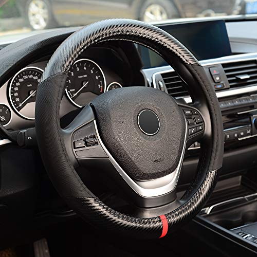 KAFEEK Steering Wheel Cover,Universal 15 inch, Microfiber Leather Carbon Fiber, Anti-Slip, Odorless, Black