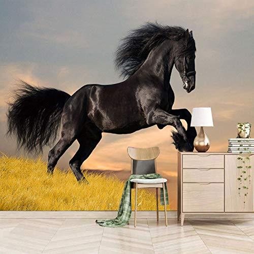 Msrahves fotomurales decorativos pared 3d Cielo negro animales caballos Fotomural Vinilo de Pared para Paredes Decoración Hogar Pared Fotomurales ParedFotomural Decorativo Vinilo Decorativo
