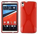 Cadorabo Hülle für HTC Desire 816 - Hülle in Inferno ROT – Handyhülle aus flexiblem TPU Silikon im X-Line Design - Silikonhülle Schutzhülle Soft Back Cover Case Bumper
