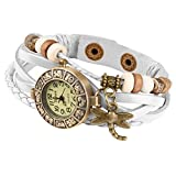 Taffstyle Damen-Armbanduhr Analog Quarz mit Leder-Armband Geflochten Charms Anhänger Uhr Retro Vintage Libelle Gold Weiß