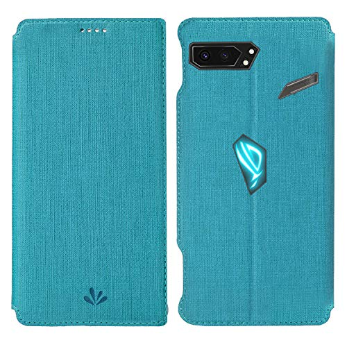 HATA ASUS ROG Phone 2 Lederhülle Handyhülle flip case mit Standfunktion Magnetverschluß Kartenfach ASUS ROG Phone 2 Schutzhülle Tasche (ROG Phone2, Blue)