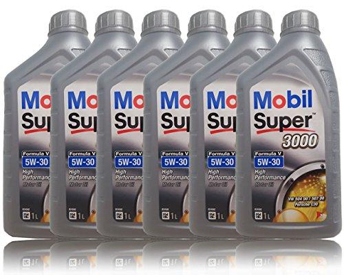 Mobil Super 3000 Formula V 5W-30 Longlife III Motorolie, 6 x 1 liter