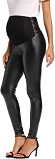 Foucome Maternity Faux Leather Leggings High Waisted Stretchy Comfy Pnats Tights Over The Belly