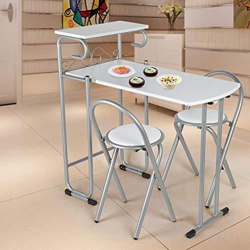 lyrlody Küchentisch mit Regal und 2 Stühlen, klappbar Küchenbar Frühstückstheke Bartisch StehtischTresentisch Esstisch Tisch Stühle Set für Küche Esszimmer, Ausklappbar Platzsparend