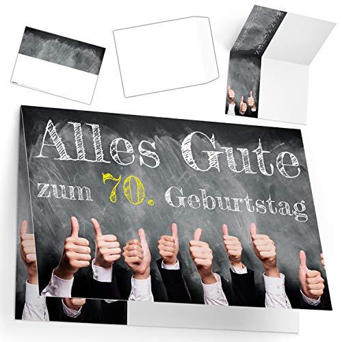 A4 XXL 70 Geburtstag Karte DAUMEN HOCH mit Umschlag - edle Geburtstagskarte - Glückwunschkarte zum 70. Geburtstag für Mann & Frau von BREITENWERK