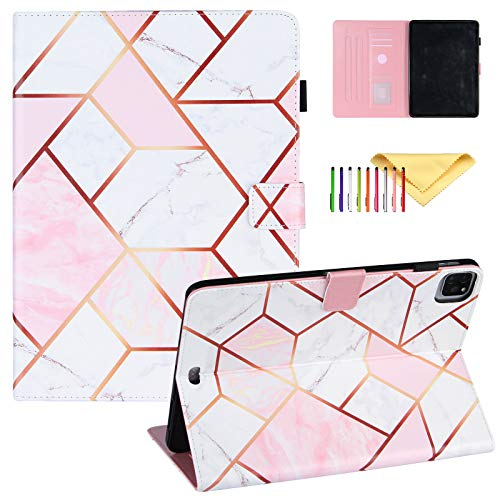 Uliking Case for iPad Air 4th Generation/iPad 10.9' 2020 case with Pencil Holder, iPad Pro 11 2018/2019 Cover, PU Leather Folio Flip Stand Smart Cover Multi Angle Viewing Stand, Purple Marble