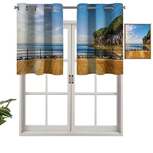 Hiiiman Cortinas pequeñas para ventana de cocina, terraza, paseo, balcón y pinos, impresión en el lago de Bolsena, juego de 2, 42 x 24 pulgadas, para cocina, ventana, baño y cafetería.