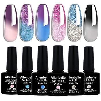 Allenbelle Color Changing Gel Nail Polish Set Color Changing Gel Polish Set Mood Soak Off Uv Led Color Changing Gel Nail Polish