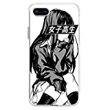Compatible for iPhone 11 6.1' Schoolgirl (Black and White) - Sad Anime Japanese Aesthetic TPU Pure Clear Anti-Scratch Cover