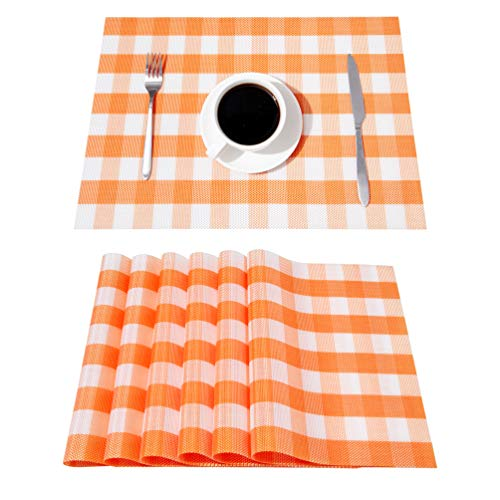 DOLOPL Fall Buffalo Check Placemats Orange and White Buffalo Plaid Placemat Set of 6 Easy to Clean Wipeable Table Mats Farmhouse Placemats for Kitchen Dining Patio Table