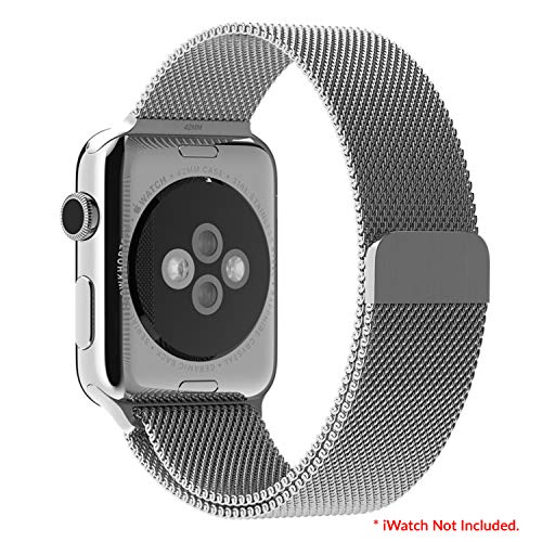 AirCase Milanese Loop Band Strap for Apple Watch Series 5, 4, 3, 2, 1 44mm 42mm Steel Alloy (Silver)