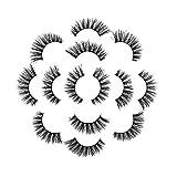 7Pair Luxus 3D falsche Wimpern flauschigen Streifen Wimpern lange natürliche Party (7 Paar,D)
