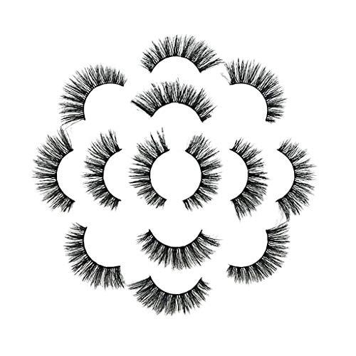 IYU_Dsgirh Faux cils épais, partie naturelle longue de cils moelleux de la bande 6D de luxe 6Pair 7D (NOIR)