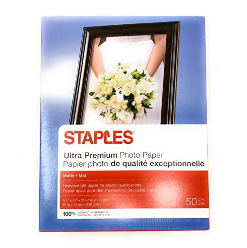 Staples Photo Supreme Paper, 8 1/2' x 11', Double Sided Matte, 50/Pack