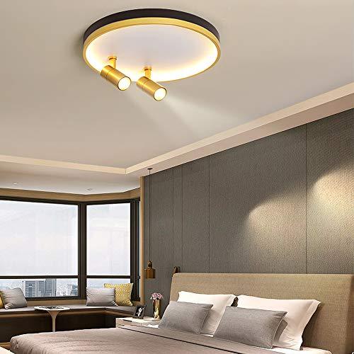 Lámpara de Dormitorio de Diseño de Anillo Redondo Con Luz de Techo LED Regulable en Oro Negro con 2 Focos de Techo Ajustables Luz de Techo Para Sala de Estar Luz de Estudio con Control Remoto