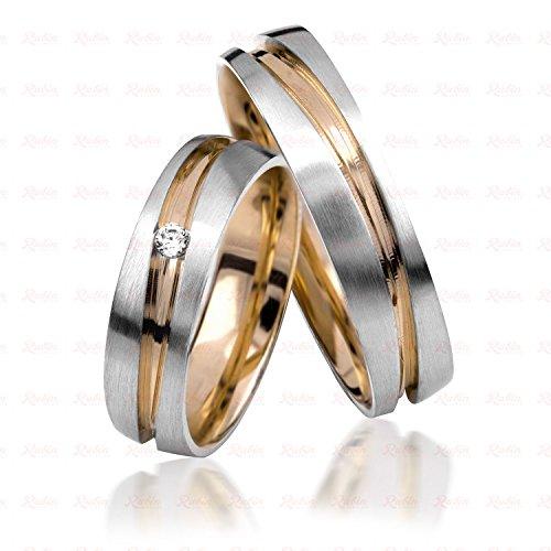 333Oro Fido anelli in bicolore con incisione + pietra, prezzo al paio di Rubino gioielliere