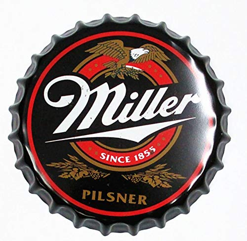 """2but Miller Decorative Bottle Caps Metal Tin Signs Cafe Beer Bar Decoration Plat 13.8"""" Inches Wall Art Plaque Vintage Home Decor"""