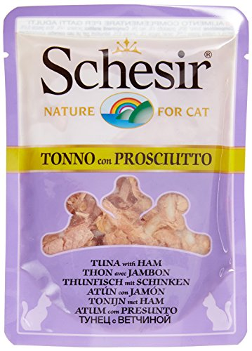 Schesir Cat in Brühe Thunfisch mit Schinken, Katzenfutter nass in eigener Kochbrühe, 20 Beutel x 70 g