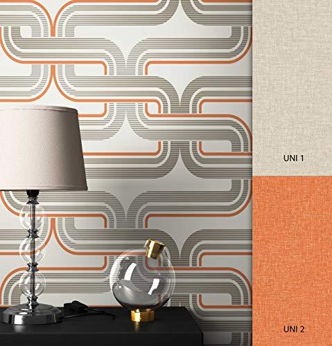 NEWROOM Tapete beige Linien Retro Papiertapete orange Papier moderne Design Optik Tapete Geometrisch inkl. Tapezier Ratgeber