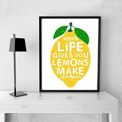 Moderne, wenn das Leben gibt Ihnen Zitronen machen Limonaden Küche Dekor Leinwand Gemälde Drucke Poster Wandkunst Bilder Home dekorative 80x100 cm kein Rahmen
