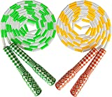 2Pack Jump Rope Kids Beaded Adjustable Skipping Ropes, Jumping Rope Tangle-Free for Men, Women Fitness Equipment 8.5 Ft. (Yellow Green 2Pack)