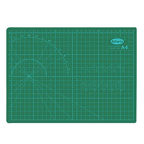 Double Sided Self Healing Cutting Mat, Rotary Cutting Board with Grid & Non Slip Surface, Rotary Cutter for Craft, Fabric, Quilting, Sewing, Scrapbooking Project (11.7X 8.6X 1/8in)
