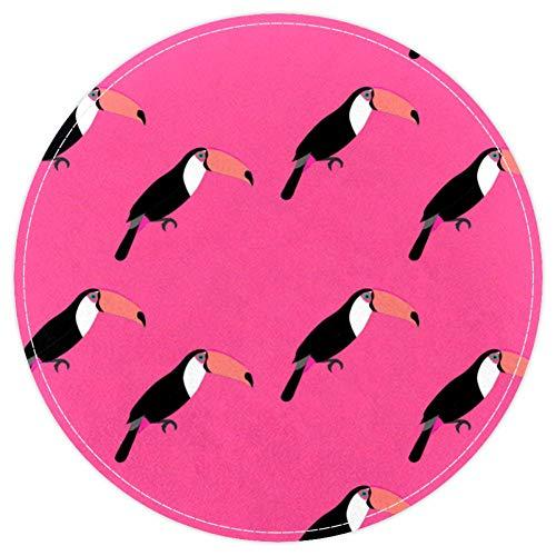 EZIOLY Toucan Vogel-Teppich, rutschfest, waschbar, rund, für Wohnzimmer, Schlafzimmer, Küche, Baby, Spielzimmer, 40 x 40 cm, Rosa