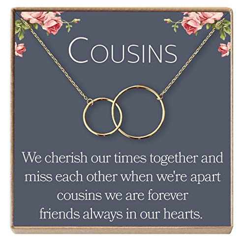 Cousins Necklace: Cousins Gift, Cousins Jewelry, Interlocking Circles Silver, 2 Interlocking Circles (gold-plated-brass, NA)