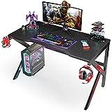 SIMBR Escritorio Gaming 120cm, Mesa Gaming con Diseño de Forma en K, Mesa de Juegos para Ordenador Portátil, Escritorio de Oficina con Soporte de Controlador, Posavasos y Gancho para Auriculares