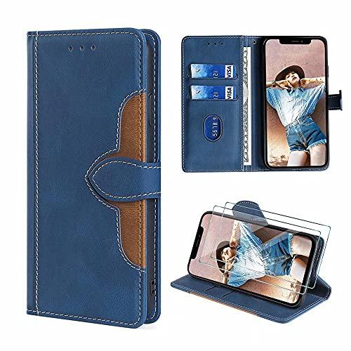 FMPCUON Funda para Samsung Galaxy J6 Plus, Funda Libro Samsung Galaxy J6 Plus, Premium Flip Billetera Carcasa de Cuero Phone Protectora Case Cover Caso + Vidrio Templado *2, Azul