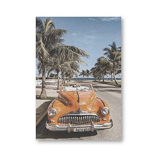 N / A Strand Kuba Landschaft Fotografie Poster Vintage Auto Palme Leinwand Drucke Strand Sommer Gefühl Wandkunst Malerei Wohnkultur 20x30CM NO Rahmen