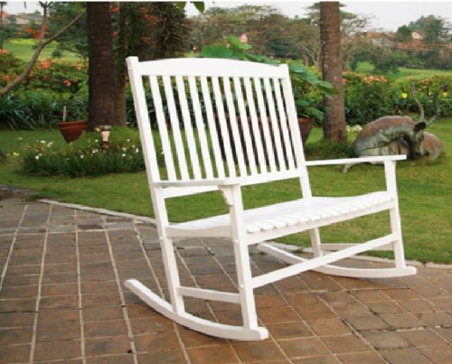 Mainstay Outdoor Seats 2 Porch Double Rocker Rocking Chair White Wood (White)