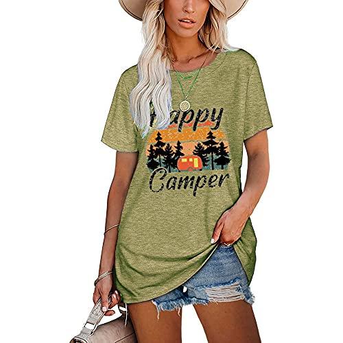 Mayntop Camiseta para mujer de verano con estampado de arco iris, estampado de leopardo, manga corta, blusa suelta con cuello en O, G-grey Green, 40