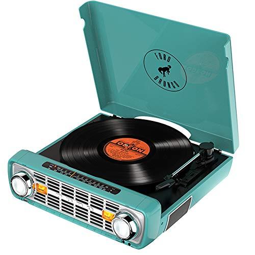 Toca-discos vinil Bronco LP ION com rádio, USB, entrada auxiliar e conversão digital 110v - Verde