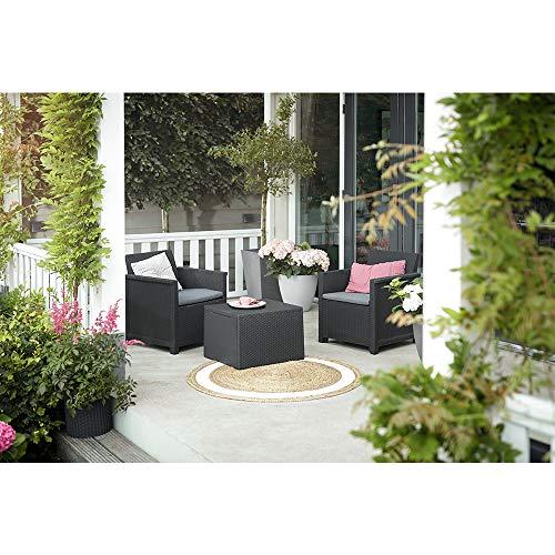 Koll Living Garden Balkon-Set 3-TLG. bestehend aus: 2X Sessel und Kissenbox Tisch - stilvolle Sitzgruppe in Rattan Optik - inklusive Sitzkissen - ergonomische Rückenlehnen für maximalen Sitzkomfort