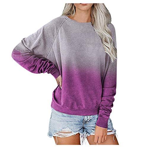 Damen Langarm Lose Bluse Hemd Shirt Oversize Sweatshirt Oberteil Tops O-Neck Kontrastfarbe (XXL,2- Lila)
