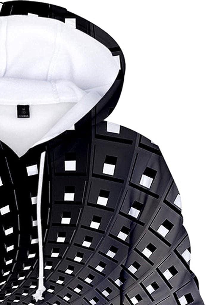 Beppter Unisex Hoodies Sweatshirt 3D Printing Crewneck Casual Long Sleeve Drawstring Shirts Top Blouse with Pokect