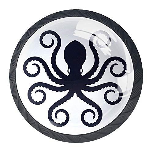 4er-Pack Küchenschrankknöpfe, rund, Kommode, Schubladengriff, schwarz, mexikanischer Totenkopf mit Rose, Schwarzer Krake auf weißem Hintergrund, 3.5 × 2.8cm / 1.38 × 1.10in
